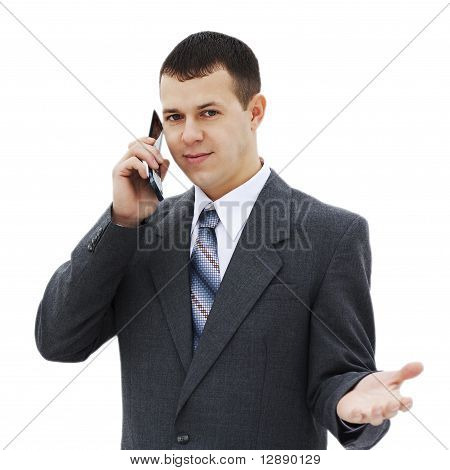 The successful young businessman talking on the phone