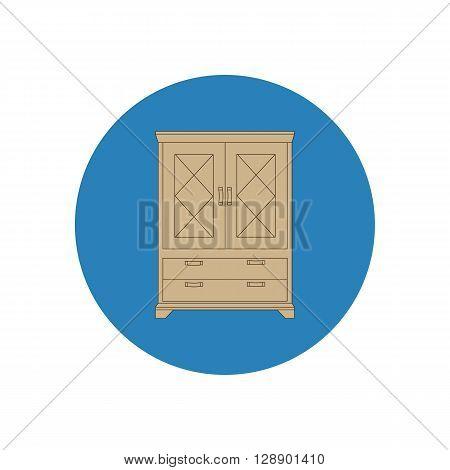 Cupboard cabinet illustration. Furniture icon. Vector illustration
