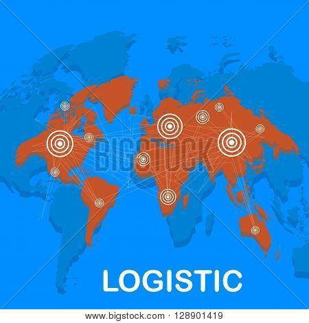World  logistics background. Map of the world. Global logistics network. Flat design. Vector illustration