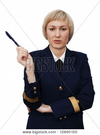Successful young business woman points to a pen - isolated
