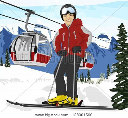 Young man skier in ski suit standing in front of cable cars lift at ski resort
