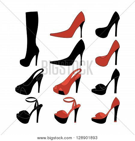 High heels illustration. Shoes illustration. Boots icon. Shoes icon. Vector illustration