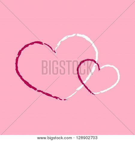 Red hearts icon. Grunge texture shape sign isolated on pink background. Symbol of romantic love passion Drawing design element for Valentine day holiday or greeting decoration. Vector illustration