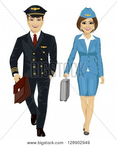Handsome man wearing airline pilot uniform and air hostess walking with flight cases on white background on white background