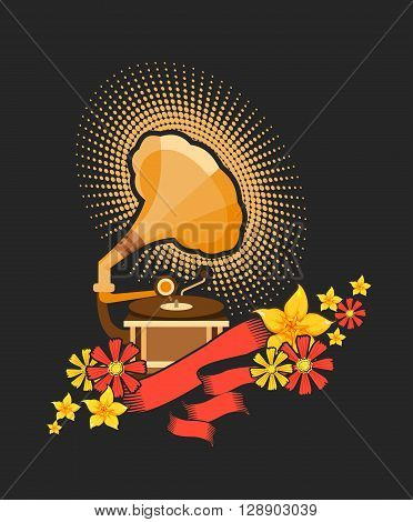 Vector illustration of retro music concept works gramophone music pours out of it in the form of flowers
