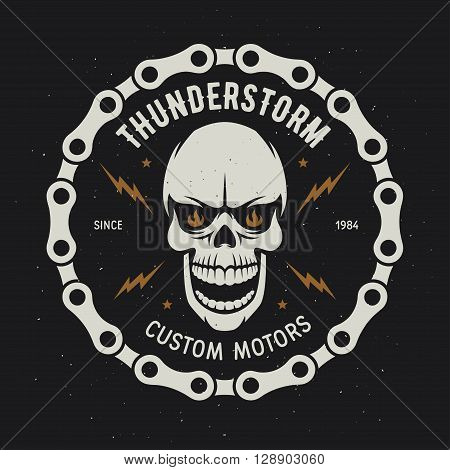 Vintage motorcycle t-shirt graphics. Thunderstorm. Custom motors. Biker t-shirt. Motorcycle emblem. Monochrome skull. Vector illustration.