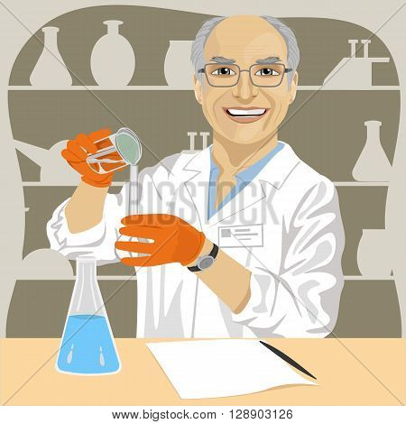 Senior male scientist with glasses mixing chemicals in laboratory