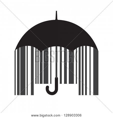 Black open classic umbrella stick with barcode inside. Price protection concept. Vector illustration