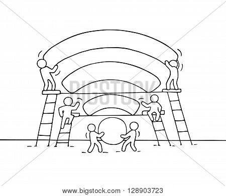 Sketch of working little people with network signal. Doodle cute miniature teamwork make good wifi signal. Hand drawn cartoon vector illustration for business design.