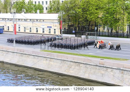 Sailors Marching Formation For Moskvoretskaya Waterfront