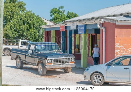KARATARA SOUTH AFRICA - MARCH 4 2016: A street scene with post office bank and funeral services in Karatara a village on the Seven Passes Road in the Garden Route