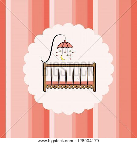 Baby cot with toy on a striped background. Vector illustration. Useful for the design of children's albums, greeting cards and invitations.