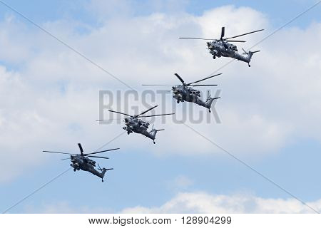 Russian Air Force Mi-28 Helicopter Fly Over Red Square.