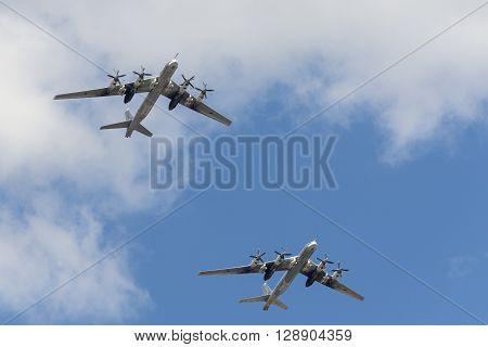 The Group Of Soviet Strategic Bomber Tupolev Tu-95