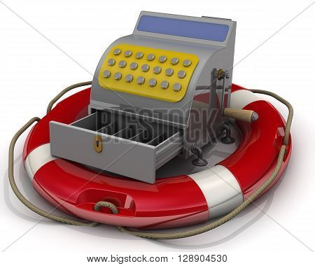 Cash register in lifebuoy on a white surface. Isolated. 3D Illustration