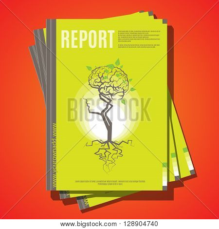 Modern vector abstract brochure cover template. Report design template. A4 size cover design. Annual report cover design. Environmental ecological theme concept