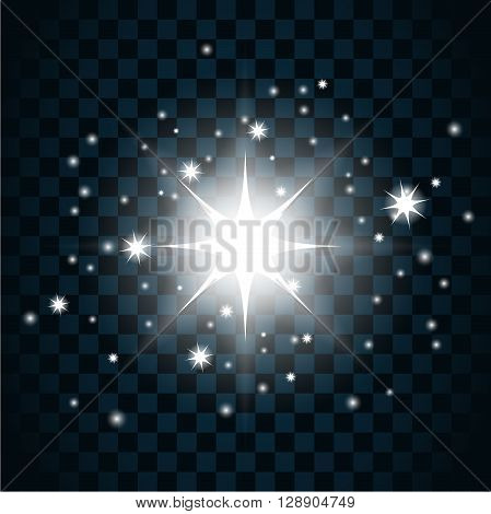 Shine star with glitter and sparkle icon. Effect twinkle glare glowing graphic light sign. Transparent glow design element on dark background. Template bright flash decoration. Vector illustration.