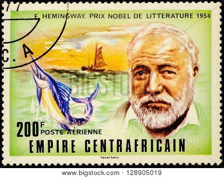 MOSCOW RUSSIA - MAY 03 2016: A stamp printed in Central African Republic shows portrait of American writer Ernest Hemingway (1899-1961) series