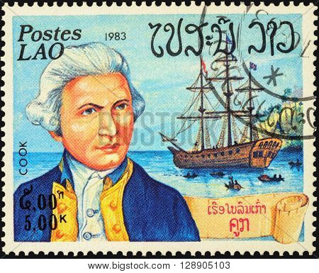 MOSCOW RUSSIA - MAY 06 2016: A stamp printed in Laos shows Captain James Cook and his ship
