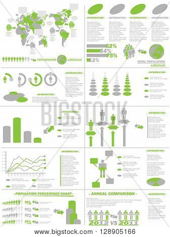 INFOGRAPHIC DEMOGRAPHICS WEB ELEMENTS GREEN FOR WEB AND OTHER