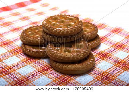 flat cookie on a napkin close up ** Note: Shallow depth of field