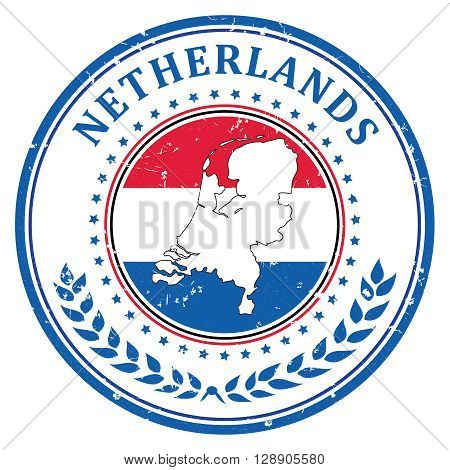 Made in Netherlands grunge printable label, with dutch flag colors and map. CMYK colors used