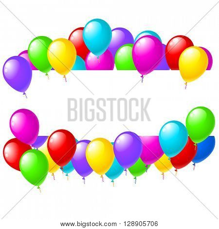 Balloons banner sign with party balloons isolated on white background