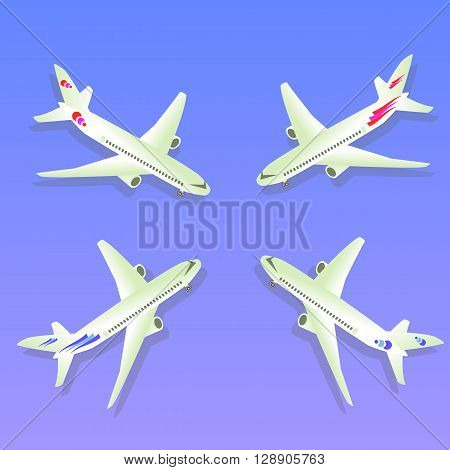 Passenger Airplane. Passenger Airliner. Airplane freight. Aircraft isometric on blue background. Sivel Aviation. Vector illustration