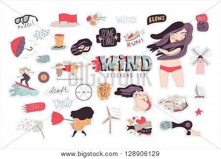 A flat vector cartoon illustration of a brunette girl sticker set