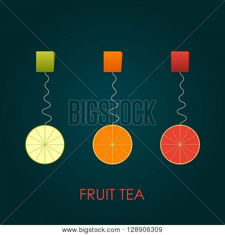 Abstract Fruit Tea. Lime, orange and grapfriut. Vector illustration. Background.