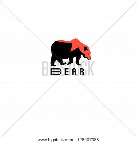 Graphic symbol of a bear on a white background