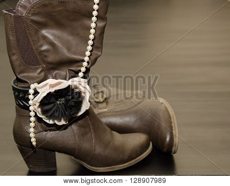 Classy Brown Boots with Ankle Bracelet and Pearls
