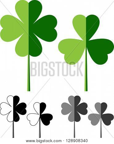 Clover with Four and Three Leaves Vector Illustration