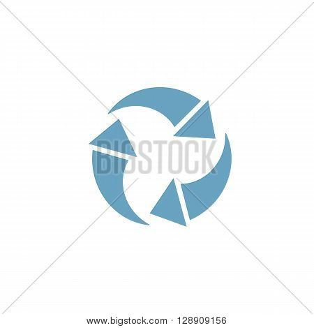 Circular arrow computer colored icon web button business badge or label as sticker on white background