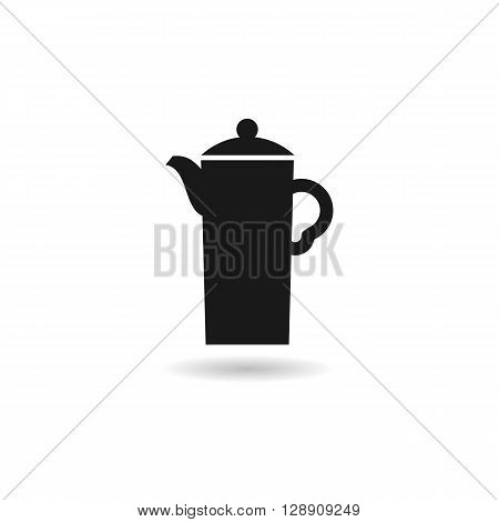 Coffee pot computer black icon web button business badge or label as sticker on white background