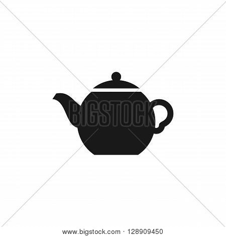 Teapot computer black icon web button business badge or label as sticker on white background