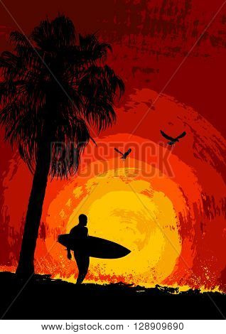 Silhouette of a palm tree and a surfer at sunset