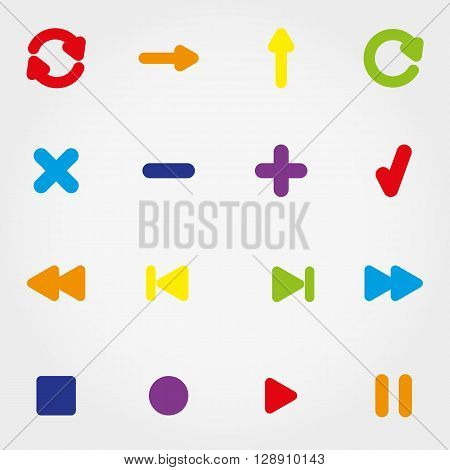 Icons set for web and mobile application. Vector illustration on a buttons. Flat design style.