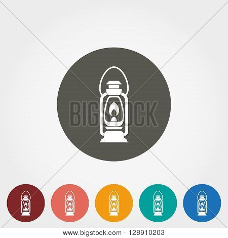 Camping lantern icon for web and mobile application. Vector illustration on a button. Flat design style.