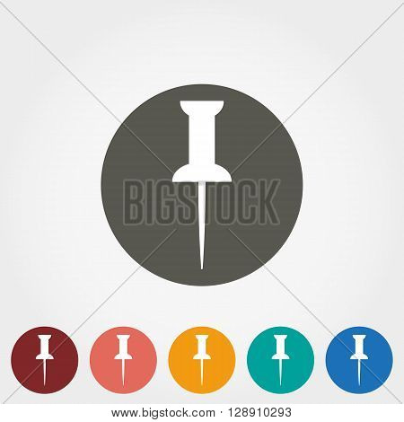 Pushpin Icon for web and mobile application. Vector illustration on a button. Flat design style.