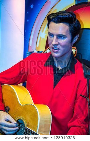 LONDON UK - JUNE 7 2015: Elvis Presley pop king Madame Tussauds museum in London. Marie Tussaud was born as Marie Grosholtz in 1761