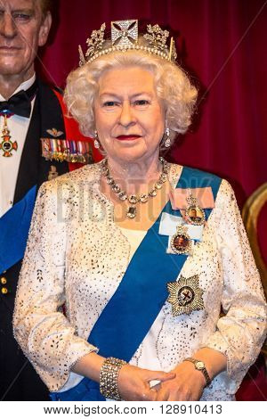 LONDON UK- JUNE 07 2015: Queen Elizabeth II  At Madame Tussauds Wax Museum.