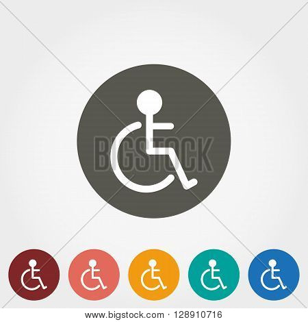 Disabled icon. Icon for web and mobile application. Vector illustration on a button. Flat design style.