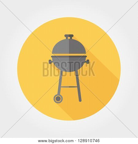 BBQ. Icon for web and mobile application. Vector illustration of a button with a long shadow. Flat design style.