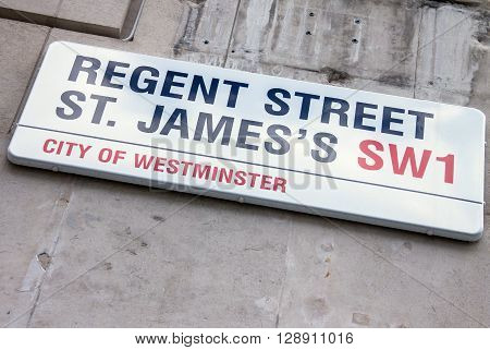 LONDON UK - JUNE 4 2015: REGENT STREET ST. JAMES sign on the stone wall