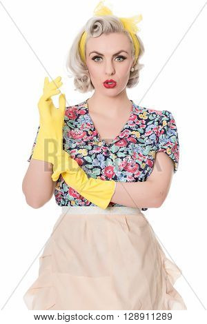Worried Fifties Housewife With Sink Plunger, Humorous Concept, Space For Text, Isolated On White