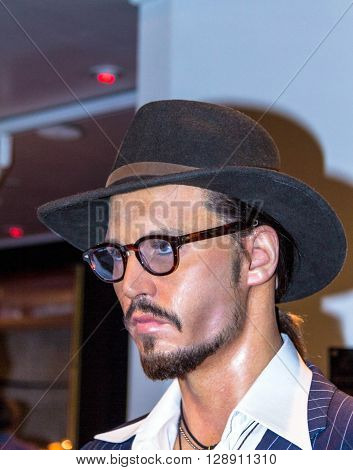 LONDON UK - JUNE 7 2015: Johnny Depp the actor Madame Tussauds museum in London. Marie Tussaud was born as Marie Grosholtz in 1761