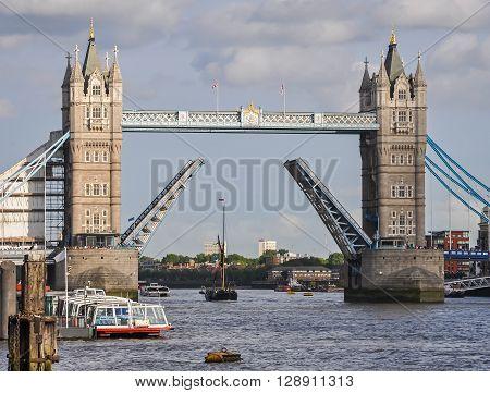 Opened Tower Bridge in London United Kingdom