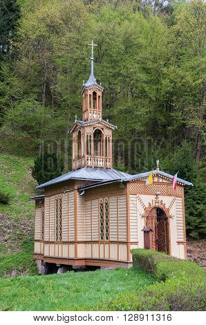 Old wooden Chapel of St. Joseph the Craftsman known as the Chapel on Water in Ojcow National Park in Poland