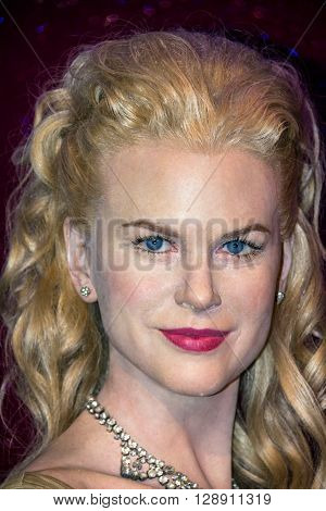 LONDON UK - JUNE 7 2015: Celebrity Wax Model Nicole Kidman at Madame Tussauds Wax Museum.